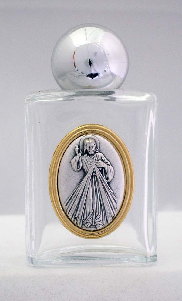 Divine Mercy Holy Water Bottle Square 1.75X3.25""