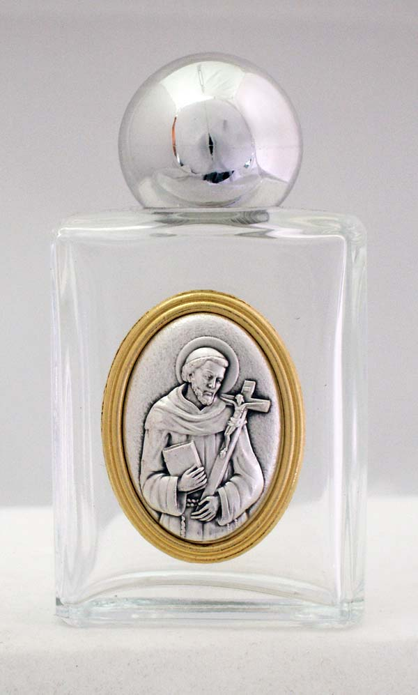 St. Francis Holy Water Bottle Square 1.75X3.25""