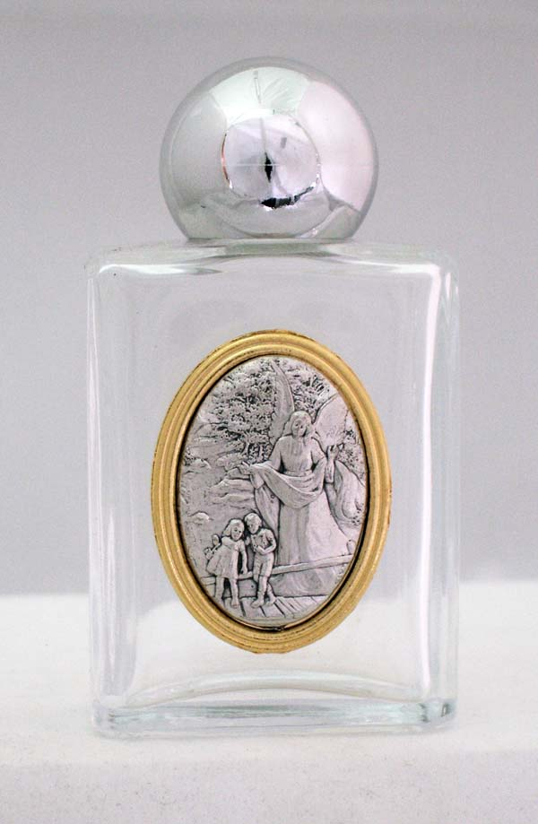 """Guardian Angel Holy Water Bottle Square 1.75X3.25"""""""