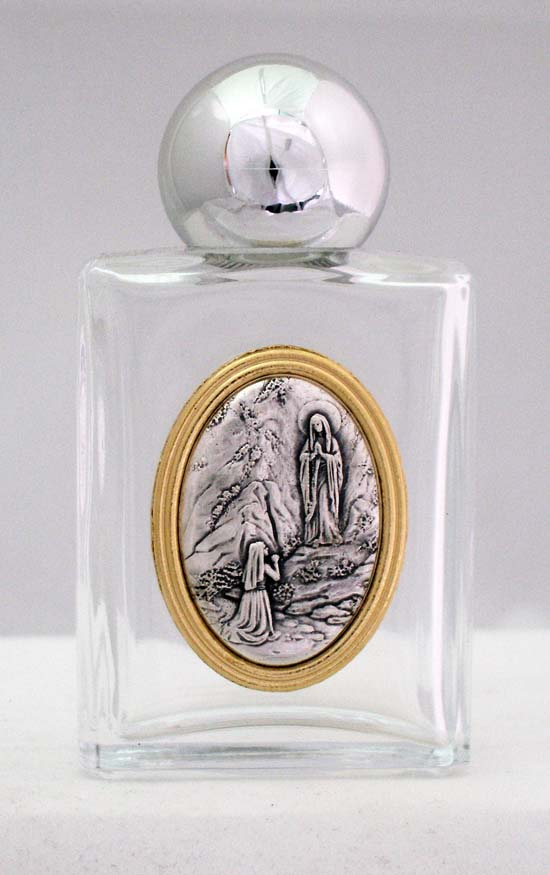 Our Lady Of Lourdes Holy Water Bottle Square 1.75X3.25""