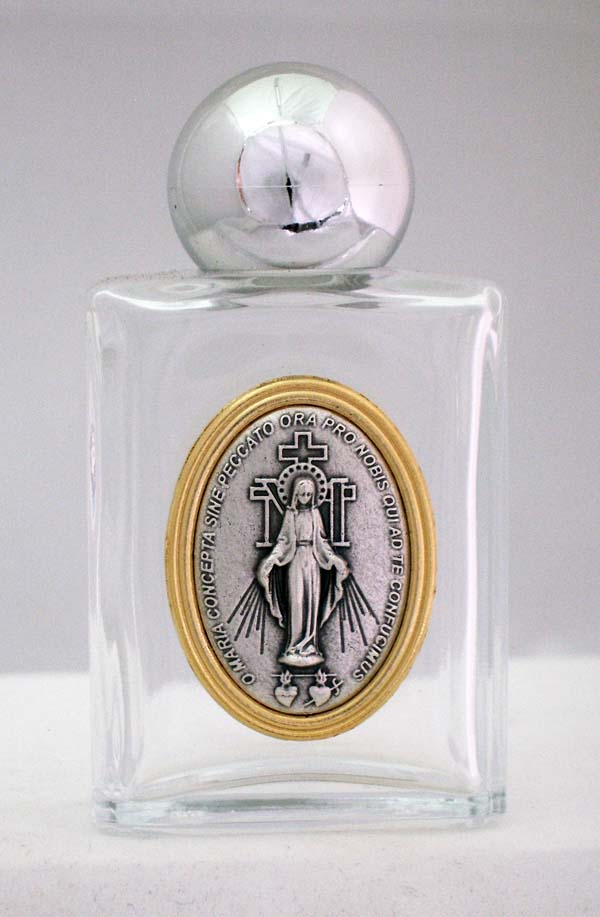 Miraculous Medal Holy Water Bottle Square 1.75X3.25""