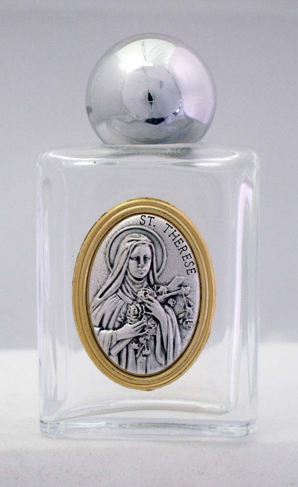 St. Therese Holy Water Bottle Square 1.75X3.25""