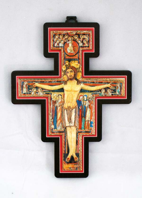 San Damian Cross Metal Relief On Wood 6.75""