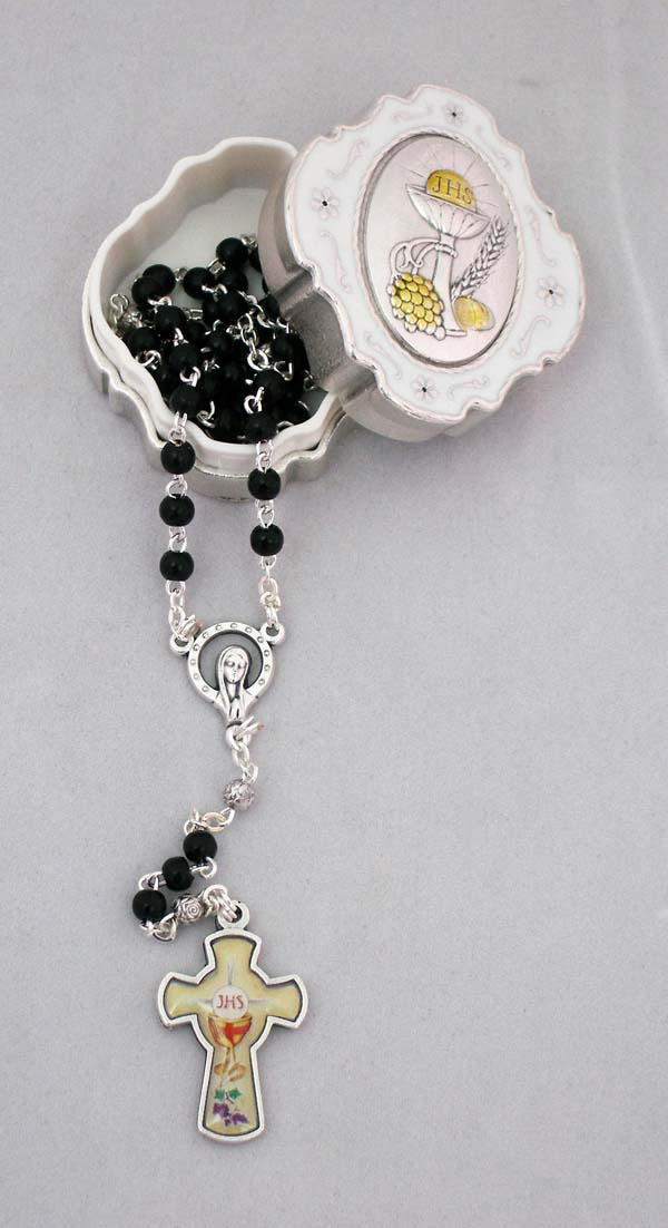 Communion Box With Black Rosary Glass Cross