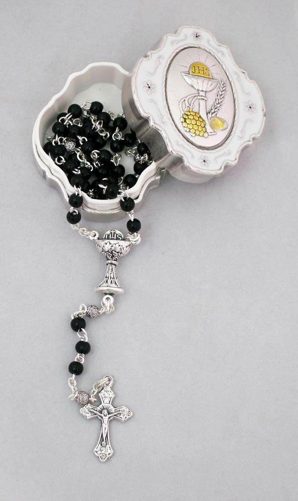 Communion Box With Black Rosary Metal Cross
