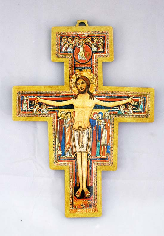 "San Damian Cross High Gloss Bright Colors 5.5"""