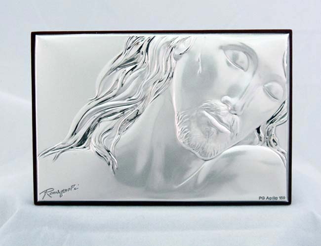 Crucified Christ In Sterling Silver On Wood Plaque 3.75X2.75""