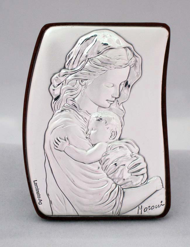 Madonna And Child Plaque Sterling Silver On Wood 2X2.75""