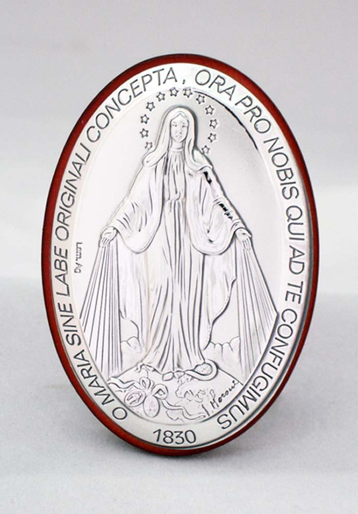 Miraculous Medal Plaque Sterling Silver On Wood 2X3""