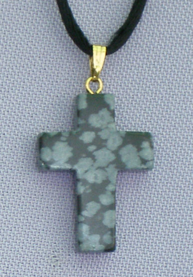 Snow Flake Obsidian Natural Stone Cross Necklace 26""