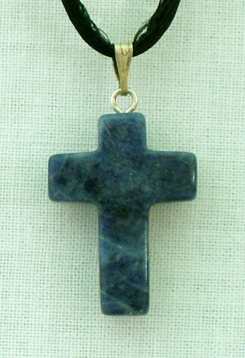 Sodalite (Blue) Natural Stone Cross Necklace 26""