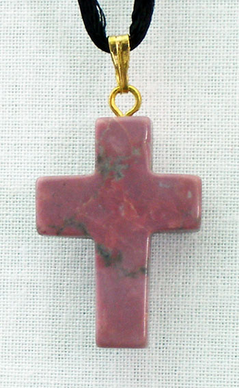 Sugilite Natural Stone Cross Necklace 26""