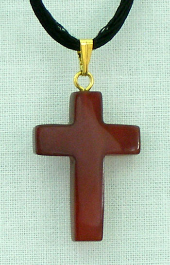 Carnelian Natural Stone Cross Necklace 26""