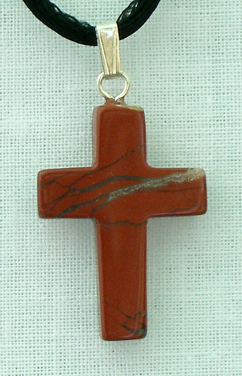 Red Jasper Natural Stone Cross Necklace 26""