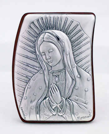 Our Lady Of Guadalupe Sterling Silver On Wood Plaque 2X2.75""