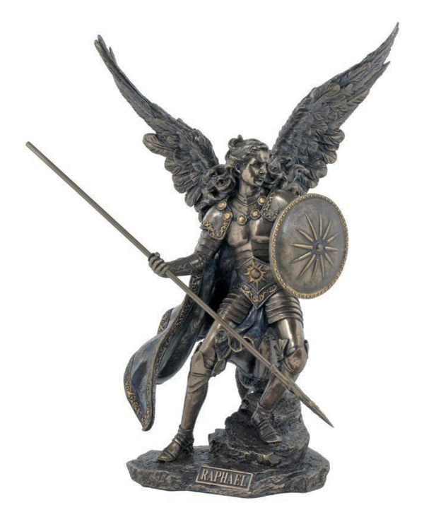 Archangel Raphael Lightly Hand-Painted Cold-Cast Bronze 13.5""