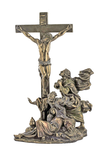 Crucifixion Masterpiece Cold-Cast Bronze Lightly Hand-Painted 11""