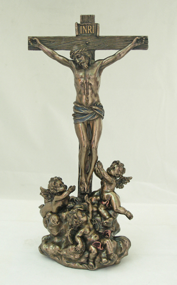 Crucifixion With Angels Cold-Cast Bronze 11.5""