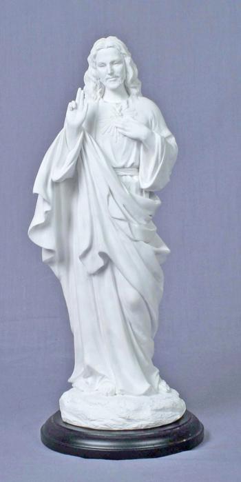 "Sacred Heart Of Jesus White Black Base 11.5"""