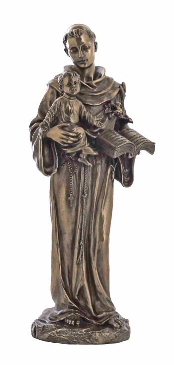 """St. Anthony And Child Cold-Cast Bronze 10.5"""""""