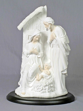 Holy Family In Stable White On A Black Base 12""