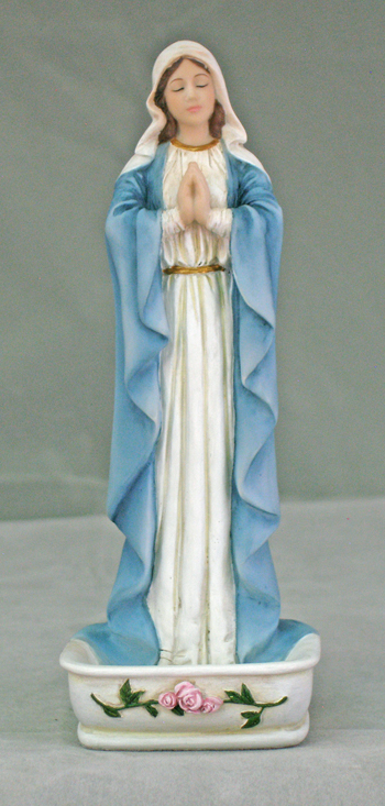 Praying Virgin Font/Rosary Holder Hand-Painted Color 6.25""