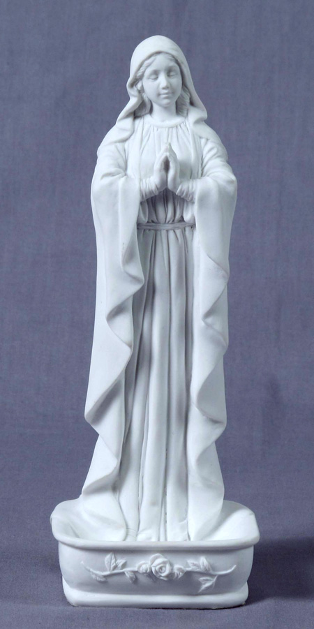 Praying Virgin Font/Rosary Holder White 6.25""