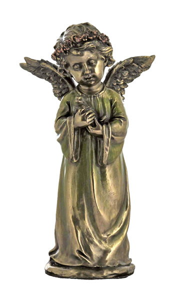 Angel Holding Dove Cold-Cast Bronze 7.75""