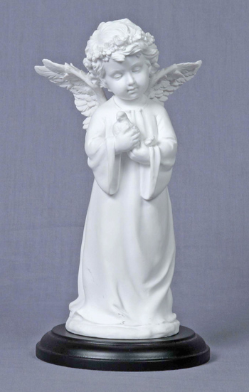 Angel Holding Dove White On A Black Base 7.75""