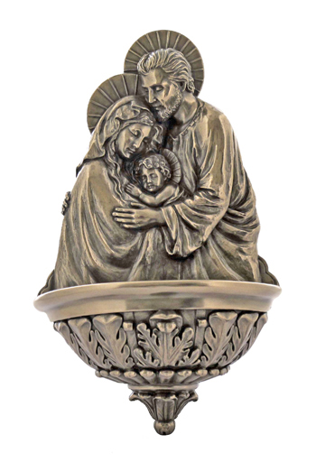 Holy Family Font Cold-Cast Bronze 9""