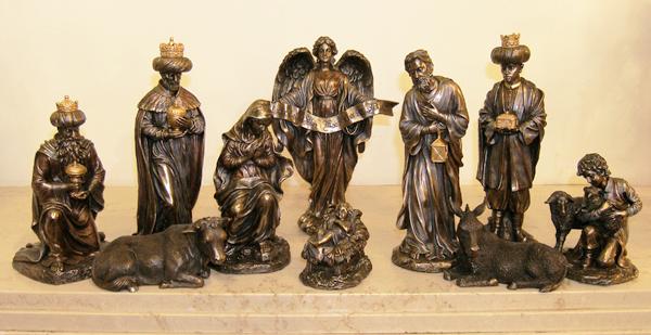 Nativity 10 Pieces Cold-Cast Bronze