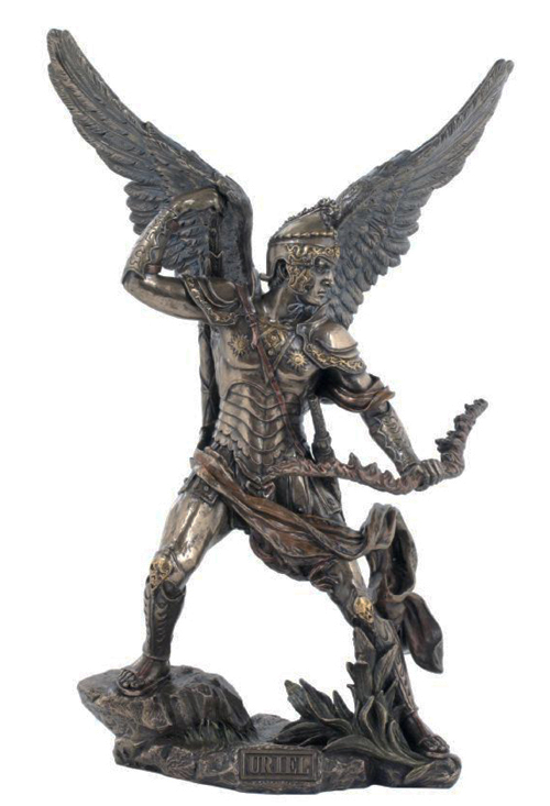 Archangel Uriel Cold-Cast Bronze Lightly Hand-Painted 13.25""