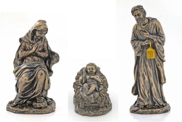 Holy Family Cold-Cast Bronze 3 Pieces