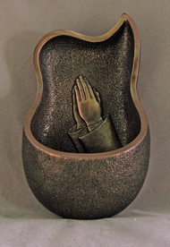 Genesis Praying Hands Font Cold-Cast Bronze 6.5""