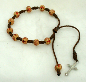 Decade Wood Rosary With Silver Colored Cross And Tan/Red Beads