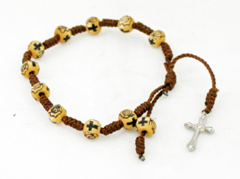 Decade Wood Rosary With Silver Cross And Tan/Brown Beads