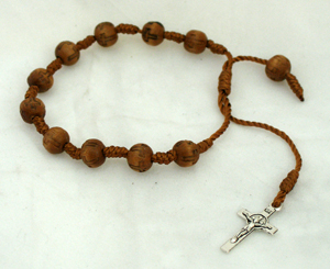 Decade Wood Rosary Bracelet With Metal Cross And Light Brown/Silver Beads