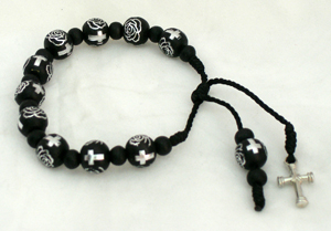 Decade Wood Rosary Bracelet With Metal Cross And Black/Silver Beads