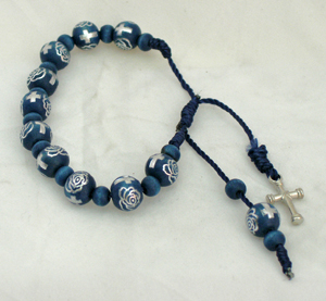 Decade Wood Rosary Bracelet With Metal Cross And Blue/Silver Beads