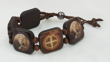 St. Benedict Bracelet-Large Dark Wood Colored Beads