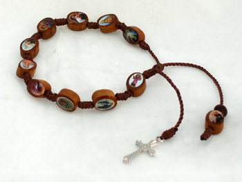 Decade Wood Rosary Bracelet With Metal Cross And Brown Print Beads