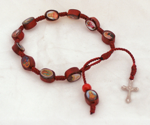 Decade Wood Rosary Bracelet With Metal Cross And Maroon Print Beads