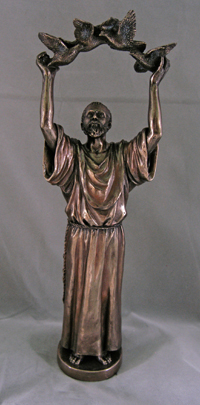 St. Francis Lightly Hand-Painted Cold-Cast Bronze 11""