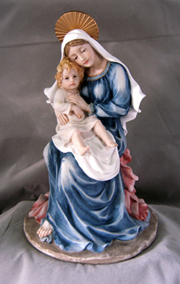 Madonna And Child Hand-Painted 9.5""