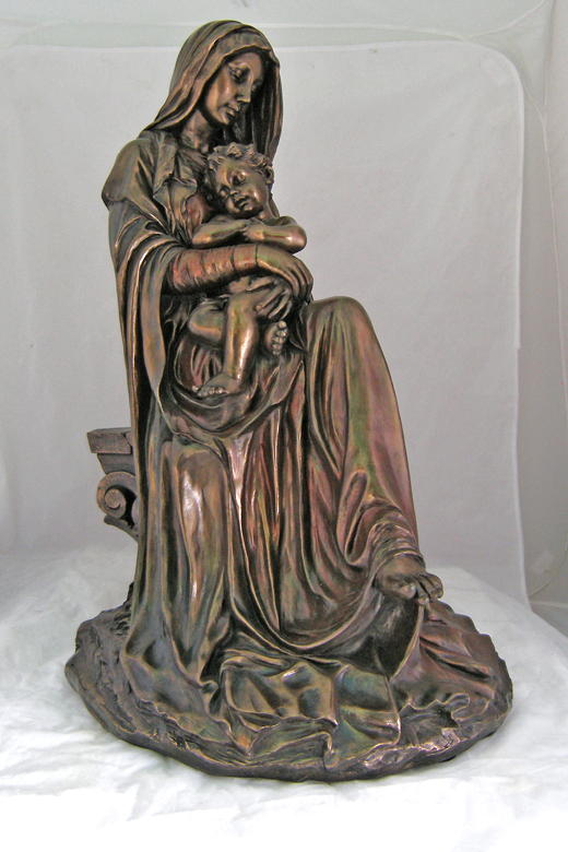"""Madonnna And Child Seated Hand-Painted Cold-Cast Bronze 26"""""""
