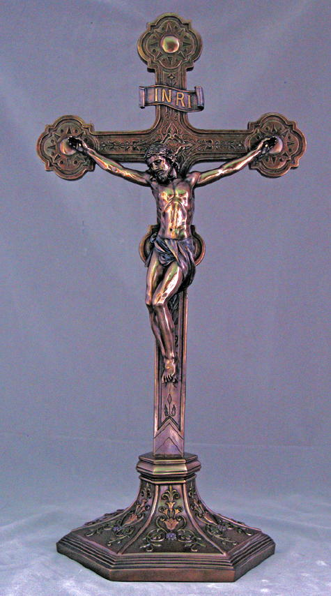 Ornate Crucifix Cold-Cast Bronze 22.5""