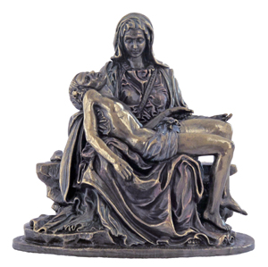 Pieta Lightly Hand-Painted Cold-Cast Bronze 5""
