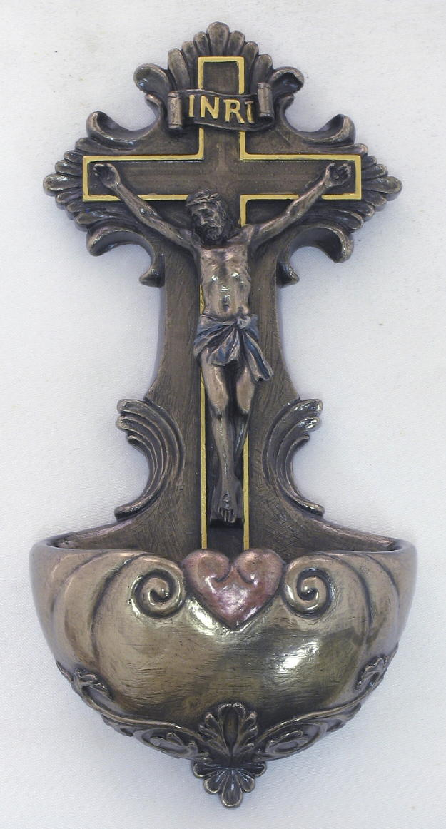 Crucifixion Font Hand-Painted Cold-Cast Bronze 6.75""