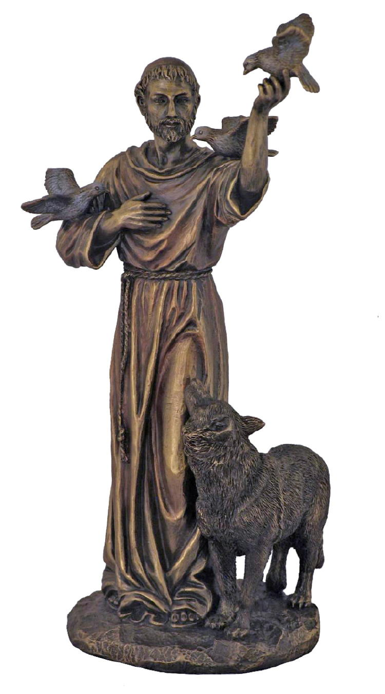 St. Francis With Animals Hand-Painted Col-Cast Bronze 10.5""