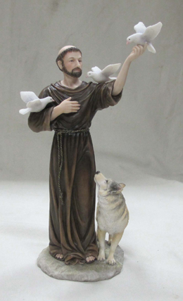 St. Francis With Animals Hand-Painted 11""